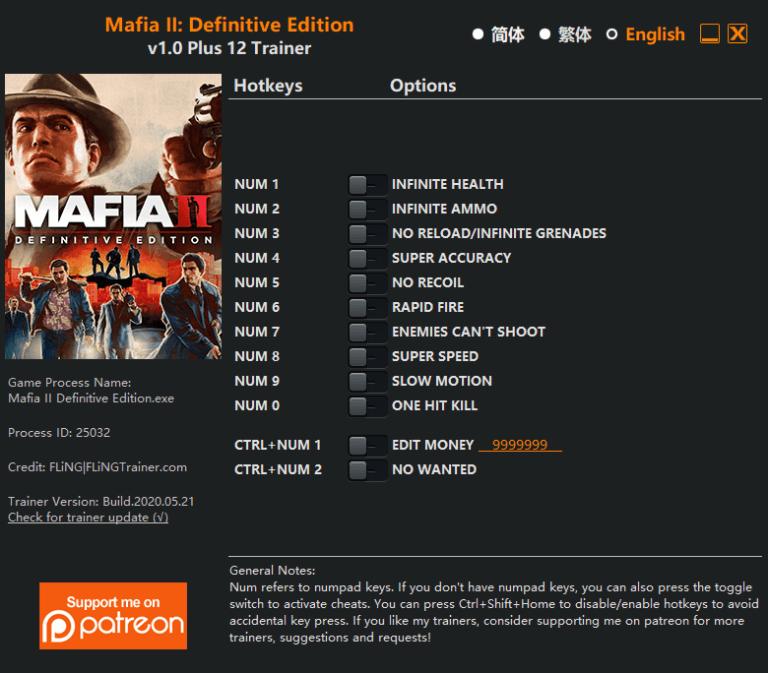 Trainer +12 для Mafia 2 Definitive Edition