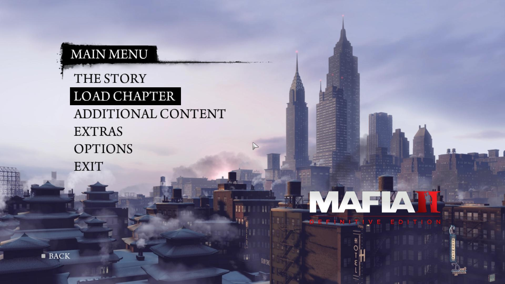 Выбор любой главы для Mafia 2 Definitive Edition